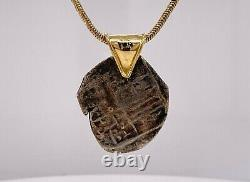 ATOCHA SHIPWRECK COIN PENDANT With10KT YELLOW GOLD BAIL 3.8 GRAMS