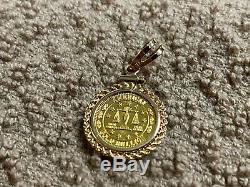 American 1 Gram. 999 Fine Gold Coin Bullion with 14k Charm Pendant