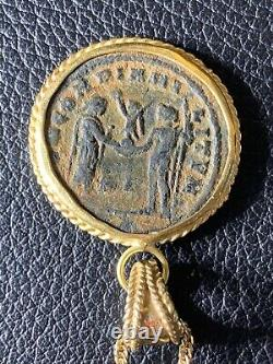 Ancient Roman Bronze Coin in 18K Yellow Gold Pendant for Necklace. 6 grams total