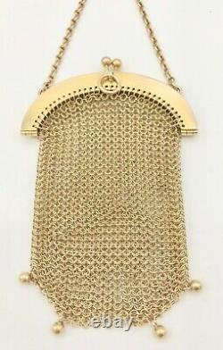 Antique FRENCH 14 K Gold MESH CHAIN HANGING COIN PURSE 41.2 grams