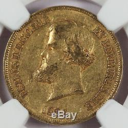 Brazil 1884 10000 Reis 9 Gram Gold Coin NGC AU53 KM#467 Pedro II 0.2643 Oz AGW