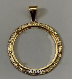 CENTENARIO gold coin bezel pendant Unique 14K 0.282192oz/8 Grams