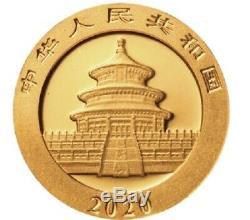 CHINE 50 Yuan Or 3 grammes Panda 2020
