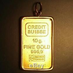 CREDIT SUISSE 10 gram 24K Gold Bar in 14K Pendant. Ingot/charm/coin/medal/token