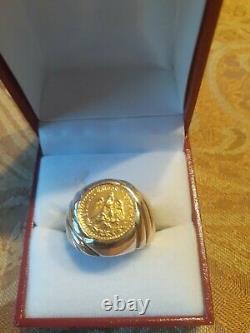 Dos Pesos 14K Gold Coin Men`s Ring Size 8 1/2 HEAVY 11gram