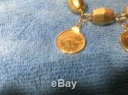 ESTATE-18K Ladies Heavy Italian Bracelet 54 Grams Plus 3x Gold Coins US+AU+BR