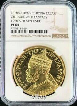 Ee1889 (1897) Ethiopia Gold Menelik II Birr (talari) 49.49 Gram Coin Ngc Pr 64