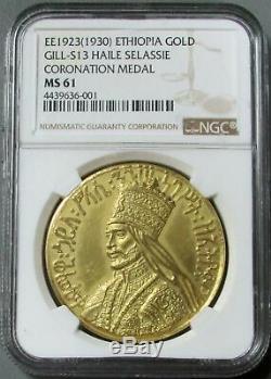 Ee1923 (1930) Ethiopia Gold 48.89 Gram Coronation Haile Selassie Gill-s13 Ms 61