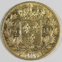 FRANCE 1819 A Louis XVIII 20 FRANCS 6.45 Gram GOLD Coin XF/AU Lustrous KM#712.1