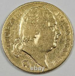 FRANCE 1820 A Louis XVIII 20 FRANCS 6.45 Gram GOLD Coin XF/AU Lustrous KM#712.1