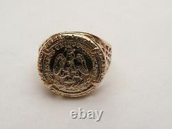 Fab Mens 9ct Gold Mexico Unidos Coin Medal Signet Ring Size L 16.4mm 3.7 Grams
