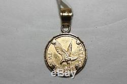 Fine 14K/ 22K Yellow Gold Queen Elizabeth Small coin Pendant Charm 2.1 Grams