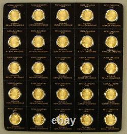 Full Sheet of (25) 2021 Canada 1 Gram Gold Maple Leaf Coins From Maplegram Sheet