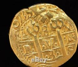 Genuine Dated 1739 Peru 8 Escudo Gold Cob Coin Heavy 27 Grams
