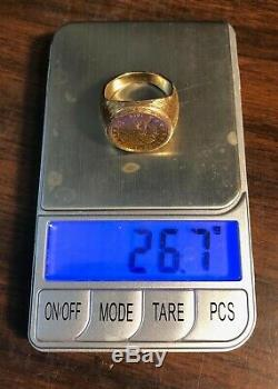 Gold $2.50 Coin Ring 1914 Indian Qtr. Eagle 26.7 Grams Size 22-14 Kt Top Quality