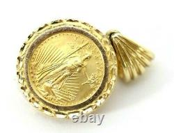 Gold American Eagle 2000 $5 Coin, Set in 14K Bezel Necklace Pendant, 7.1 Grams