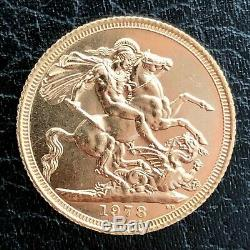 Gold Full Sovereign 1978 Elizabeth Great Britain 7.98 grams/22 carats Mint Coin