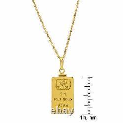Gold Ingot 5-gram Pendant Necklace Gold