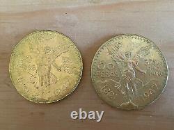 Gold Uncirculated 1947 Mexico 50 Pesos Two Coins 37.5 Grams Oro Puro Each