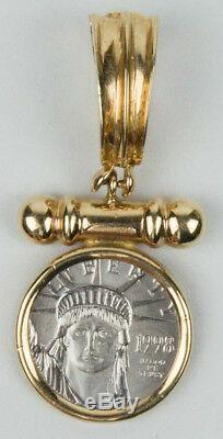 Gorgeouos 1998 1/10th Oz U. S. Platinum Coin Mounted In 14k Gold Pendant 7.3 Gram