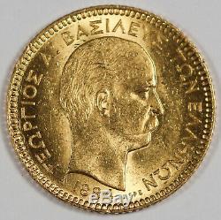 Greece 1884 A Greece 20 Drachmai 6.45 Gram Gold Coin George I Choice UNC/BU