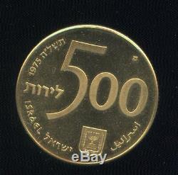 ISRAEL-1975 500 Lirot, 20 Gram Gold 90025 years of Israel Bonds, SUPERB coin
