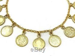 Italian 14k Yellow Gold COIN Charm Bracelet 7.5 7.8 grams