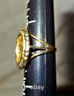 L@@K 1986 Panda 5 Yuan. 999 Gold Coin in 14k Yellow Gold Ring 4.5 grams