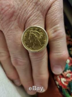 Mens 1902 Five Dollar Gold Coin Ring In 14 K Yellow Gold Weights 17.2 Grams