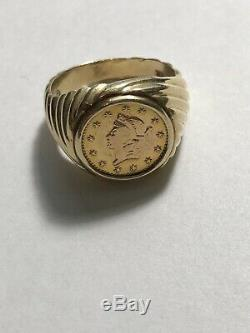 Mens Gold Coin Ring Gents 14K Size 8-9 Not Scrap 8 Grams Pinky