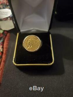 Mens Indian Head Gold Coin Ring In 14 K Yellow Gold Weights 14.5 Grams