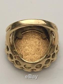 Mexican 1945 Dos Pesos 22 Gold Coin Set In 18k Gold Pinky Ring, 7.6 Grams Italy