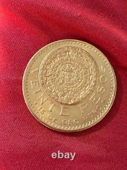 Mexican gold coin 1919, uncirculated, 15 grams of pure gold, veinte 20 pesos