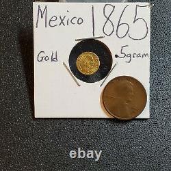 Mexico 1865 1/2 gram Maximiliano Emperador Miniature GOLD Coin BU UNC