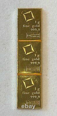Must See 3- 1 GRAM, VALCAMBI BARS, 999.9 FINE GOLD COMBI BAR-, SEE OTHER GOLD