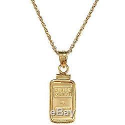 New American Coin Treasures 1-Gram Gold Ingot Pendant Women Men Necklace Yellow