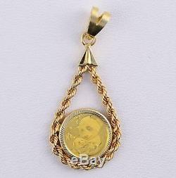 PURE. 9999 GOLD 2019 1 GRAM PANDA Coin in Solid 14KT Gold Tear Drop Rope Pendant