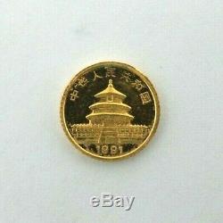Panda World Coin China 1991 3 Yuan 1 gram 999 Gold Panda V510