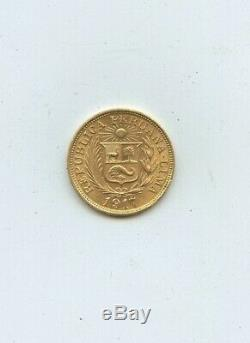 Peru 1917 1 Libra 7.98 Gram Gold Coin #J15837