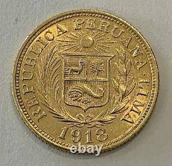 Peru Peruvian 1918 Una 1 Libra 8 Gram Gold Coin Peruana