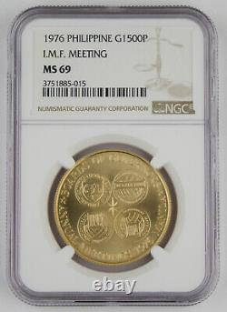 Philippines 1976 20 Gram 90% Gold 1500 Piso GEM BU Coin NGC MS69 I. M. F. Meeting