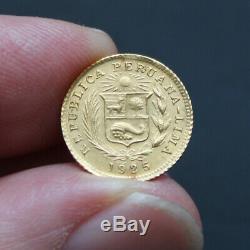Pièce Or Pérou 1/5eme Libra 1925 1,6 grammes or pur 917/1000 Peru Gold Coin RARE