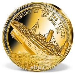 RARE 2019 Solid Gold Titanic coin 0.5 grams 11 mm RARE + COA + Capsule Proof