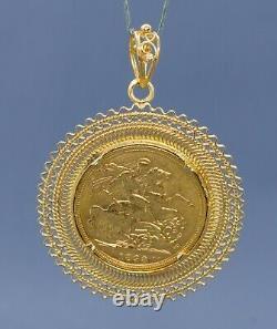 (RI5) 19K Portuguese Yellow Gold Bezel Coin/Pendant 13.3 Grams 1 3/4 Long