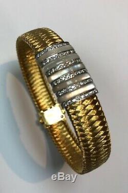 ROBERTO COIN 18K Gold Silk Weave Pave Diamond Bracelet 25 grams 7