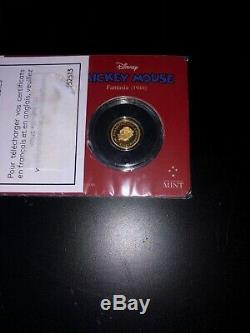 Rare 2017 1/2 Gram Niue Mickey Mouse Fantasia Series Gold Proof Coin # 0452