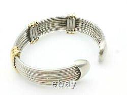Rare ROBERTO COIN Vintage 925 Sterling 14K Yellow Gold Cuff Bracelet 26.6 Grams