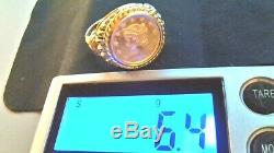 Real 1853 22k One Dollar Gold Coin mounted on 14k solid 6.4 gram Gold Ring