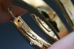 Roberto Coin 18K 750 Gold Large Hoop Earrings 1 1/2 Wide 12.4 Grams