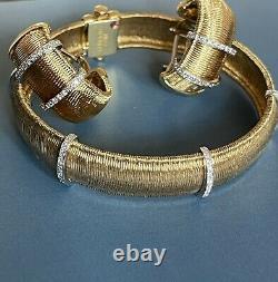 Roberto Coin 18ct gold Silk Weave Diamond Bracelet 0.50ct Bar Bangle 20gram